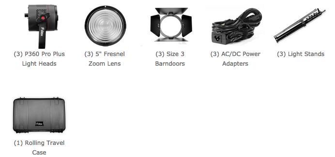 contenu du kit d'éclairage fiilex FLXK305PP pro plus