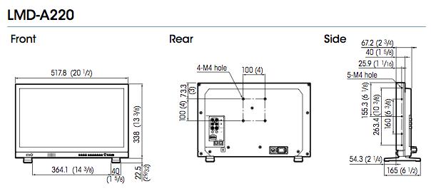 Dimensions moniteur LCD Sony LMD-A220