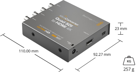 DImensions et poids du convertisseur Blackmagic Design Mini Converter Quad SDI to HDMI 4K